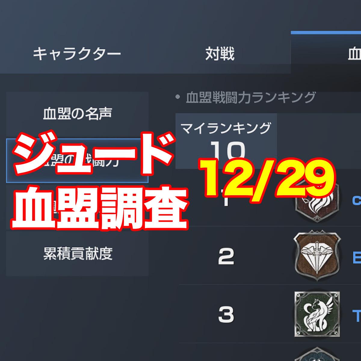 ジュード血盟調査12/29