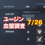 7/26ユージン情報|上位40血盟の人員推移グラフ載せたよ!