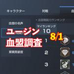 8/1ユージン情報|今週は大きくアクティブ減 (´・ω・`)