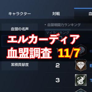 11/7エルカーディア情報|上位血盟の戦力を徹底分析!