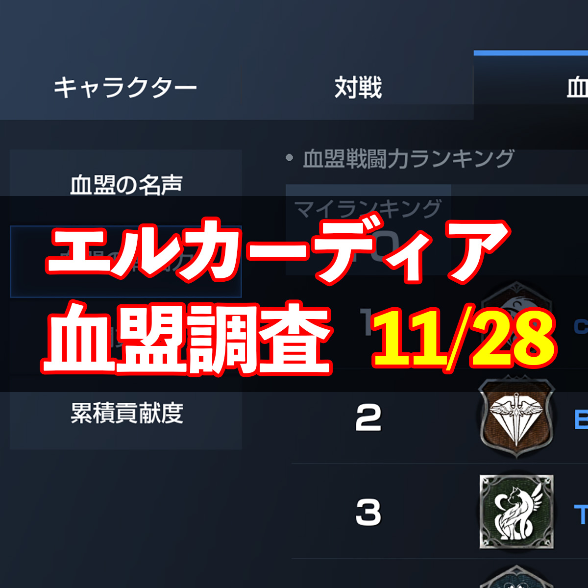 11/28エルカーディア情報|上位血盟の戦力を徹底分析!