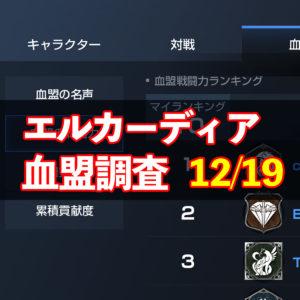 12/19エルカーディア情報|上位血盟の戦力を徹底分析!